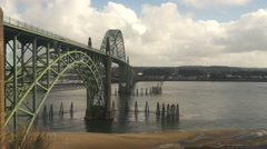 Yaquina Bay Shellfish Preserve Newport Bridge Oregon River Mouth Stock Footage