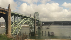 Yaquina Bay Shellfish Preserve Newport Bridge Oregon River Mouth - stock footage