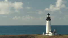 Clouds Roll By Quickly Time Lapse Yaquina Head Lighthouse Pacific Coast Stock Footage