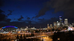 Rush Hour Seattle Interstate 5 Cuts Through Downtown City Center Skyline Stock Footage