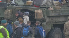 People Getting in Military Vehicle Nato Operation in Opole Parade Soldiers Stock Footage