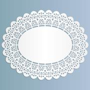 Lace oval paper doily, stand for lace cake,  greeting element package Stock Illustration