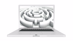 4k Laptop play video of rotating maze,abstract business & tech background. Stock Footage