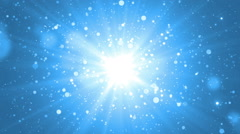 Moving gloss particles on blue background. Stock Footage