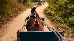 View from running horse cart in Myanmar slow motion 2 Stock Footage