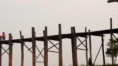 Hyperlapse  on U Bein bridge in Myanmar people motion Stock Footage