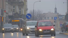 Opole Cityscape City Day Poland Rainy Spring Day Dusk Cars Are Driven by the Stock Footage