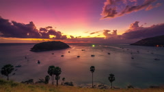 4K TimeLapse. Sunset on the background Island and many yachts in the sea Stock Footage