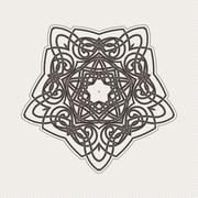 Vector mandala. Gothic lace tattoo. Celtic weave with sharp corners - stock illustration