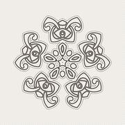 Vector mandala. Gothic lace tattoo. Celtic weave with sharp corners - stock illustration