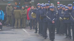 Polish Military Orchestra During Break Parade Opole Poland Atlantic Resolve Stock Footage