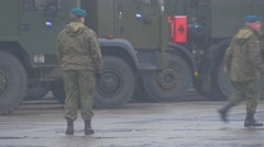 Two Soldiers Vehicles Opole Nato Atlantic Resolve Operation Soldier is - stock footage