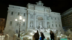 Italy Rome Trevi fountain night time lapse Stock Footage