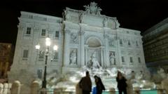 Italy Rome Trevi fountain night time lapse - stock footage