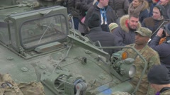 Soldiers Civil People Journalist Nato Operation in Opole People With Kids Are Stock Footage