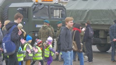 Kids Walking at Excursion to Military Camp Opole Poland Atlantic Resolve Stock Footage