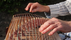 Man is playing the Guzheng-chineese harp Stock Footage