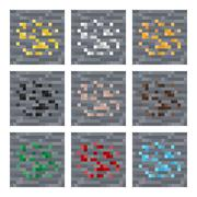 Texture for platformers pixel art vector: stone ore mineral blocks: silver, gold Stock Illustration