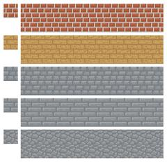 Texture for platformers pixel art vector - brick, stone and wood wall - stock illustration