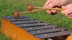Man is playing the glockenspiel Stock Footage
