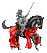 Sword and Shield Knight on Horse - stock illustration