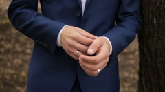 Man Wear a Suite, Correct Clothes, Fees Groom, Wedding Preparations Outdoor - stock footage