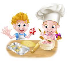 Cartoon Boy and Girl Baking Stock Illustration