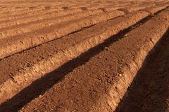 Ploughed brown fertile farmland in a spring Stock Photos
