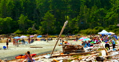 4K People on Vacation Relaxing on Sand Beach, Summer Day Stock Footage