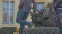 Atlantic Resolve Operation Opole Poland Teenagers on a Turret Exploring the Stock Footage