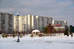 Zelenograd, Russia - February 20.2016. 16 Boulevard neighborhood in winter - stock photo