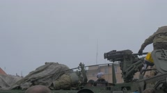 Kids on a Panzer Turret Nato Operation Opole Poland Soldiers on Military Stock Footage