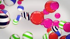 Abstract color striped spheres - stock illustration