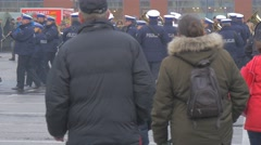 Military Orchestra Walking at Ceremonial Meeting Opole Poland Atlantic Resolve Stock Footage