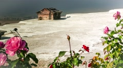 Ancient tomb submerged in a travertine pool at Hierapolis hot springs, Pamukkale Stock Footage