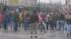Kids Families Excursion to Military Camp Opole Poland Atlantic Resolve Stock Footage