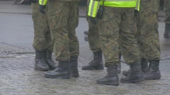 Soldiers Feet in Boots Camouflage Yellow Vest Group of Soldiers Standing Opole Stock Footage