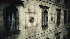 4K Fancy European Style Building Windows Facade Vintage 3D Animation 1 - stock footage
