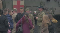 Young People Near Nato Medical Truck Atlantic Resolve Operation in Opole Poland Stock Footage