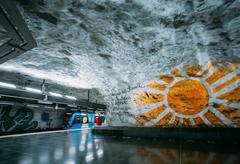 Modern Stockholm Metro Train Station, Sweden. Underground, Tunne Kuvituskuvat
