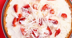 Homemade Strawberry Cheesecake With White Chocolate - stock footage