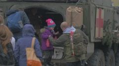 Teenagers Get Into Medical Truck Nato Operation in Opole Poland Soldiers Stock Footage