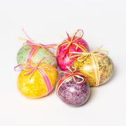 Multicolor hand painted easter eggs Stock Photos