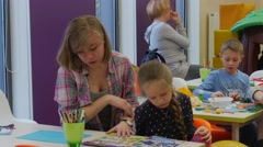 Teacher Reading With Kid Children's Day Opole Poland Library Parents Playing Stock Footage