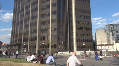Parisian people around Montparnasse tower, french style, business building, tall Stock Footage