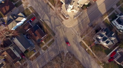 Looking Straight down on springtime neighborhood, aerial flyover Stock Footage