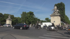Paris city car traffic, commuters commuting scene in France Place de la Concorde - stock footage