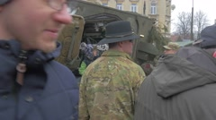 People Kids Around Military Vehicles Opole Poland Operation of Nato People Are Stock Footage