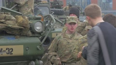 Soldiers Civil People on a Square Nato Operation in Opole People Are Walking by Stock Footage