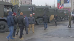 Nato Operation in Opole Poland Parked Trucks Soldiers in Blue Berets Civilian Stock Footage
